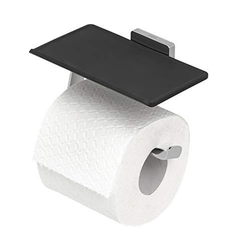 Tiger Dock Toilettenpapierhalter mit praktischer Ablage, Toilettenrollenhalter aus gebürstetem Edelstahl, 150x85x95 mm