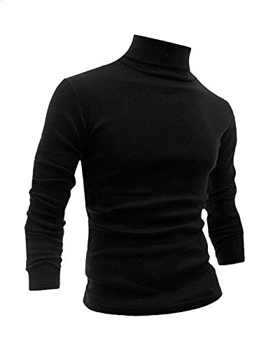 Men Slim Fit Lightweight Long Sleeve Pullover Top Turtleneck T-Shirt(Black,S)