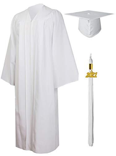 GraduationMall Matte Graduation Gown Cap Tassel Set 2021 for High School and Bachelor White 51(5'6'-5'8')