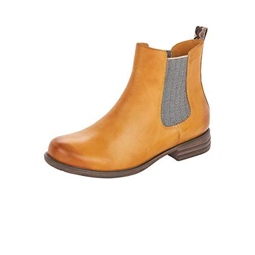 Remonte Damen Stiefeletten, Frauen Chelsea Boots, flach weiblich Ladies feminin Freizeit leger Stiefel Bootie,Gelb(Honig),41 EU / 7.5 UK