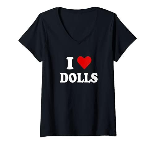 Damen Ich liebe Puppen T-Shirt mit V-Ausschnitt