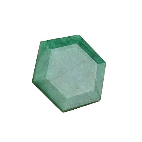 GEMHUB Esmeralda verde natural corte hexagonal forma brillante 30,50 quilates certificada piedra preciosa para fabricación de joyas