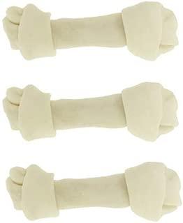 Dog rawhide bones Bulk pack of 3 natural rawhide protein treats knot bone chews Medium