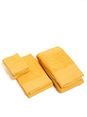 Happidea Voglia di Colore Set 1+1 (Asciugamano + OSPITE) Narciso, 100% Cotone, 38x23x5 kg 0,5, 2