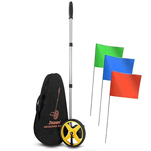 Measuring Wheel with 100 Pack Marking Flags Suit, Perfect Match Suit