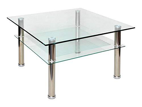 ts-ideen - Mesa auxiliar (cristal y acero inoxidable, 70x70cm, esquinas redondas, vidrio templado de 10mm)