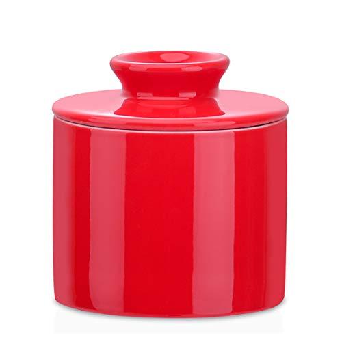 LOVECASA , Beurrier avec Refroidissement, Cloches à Fromage, Pot à Beurre en Porcelaine, Conserve de Beurre Fromage sans Réfrigérateur (Rouge)