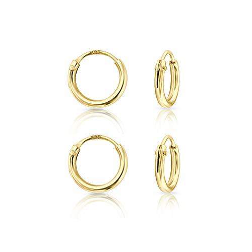 DTPsilver - Damen - Klein Creolen - Ohrringe 925 Sterling Silber und Gelb Vergoldet Set Paare 2 - Dicke 1.2 mm - Durchmesser 8 mm
