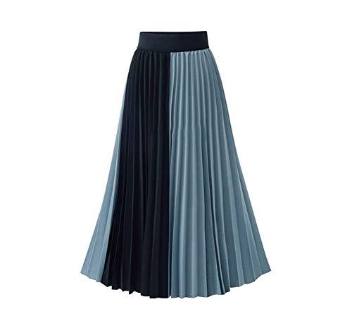 YYH Vrouwen vouwrok feesten dag verzilverd vintage plissé met voering met hoge taille enkellange rok dames casual stijl retro lange maxi-rok blauw