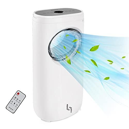 HENGMEI Climatizzatore portatile 3 in 1 senza tubo di scarico, 4 litri, capacità 80 W, ventilatore con telecomando, refrigeratore d'aria, umidificazione dell'aria (Tippe E)