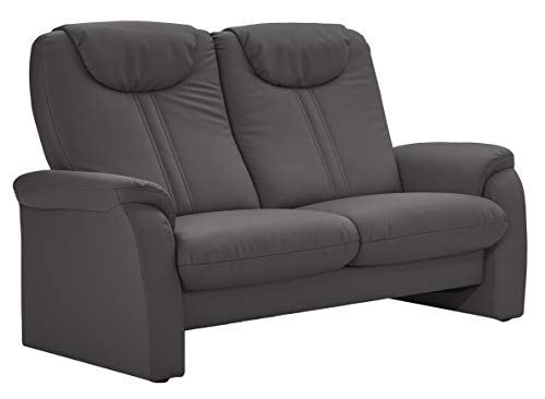 Cavadore 2-Sitzer Sofa Canta mit Relaxfunktion / Couch aus hochwertigem Kunstleder / 161 x 108 x 90 / Lederoptik Grau