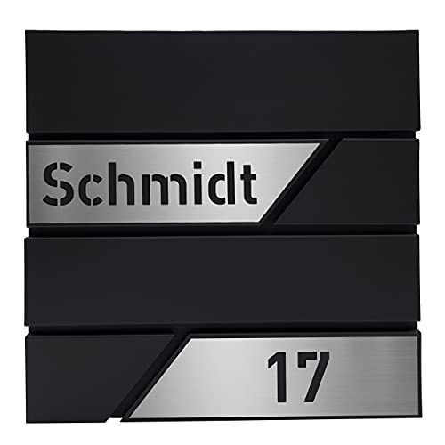 Personalisierter Design-Briefkasten individuell mit Ihrem Namen/in schwarz (matt) - mit individuellem Edelstahl-Namensschild