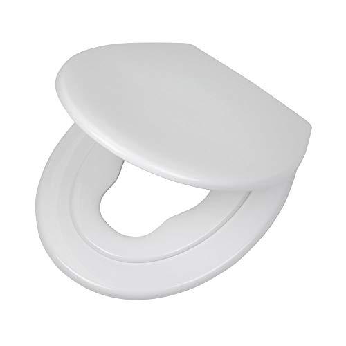 Tiger Toilettensitz Tulsa mit integriertem Kindersitz, Absenkautomatik und Easy-Clean-Funktion, Farbe: weiß, Edelstahlbefestigung, 45 x 37 x 5 cm