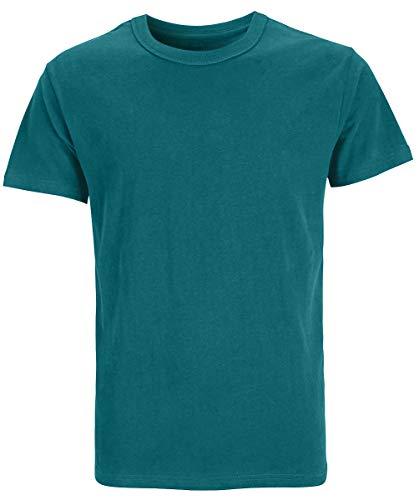 COSAVOROCK Camisetas Gruesas de Algodón 100% para Hombres (L, Cian)