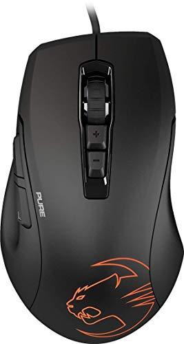Roccat Kone Pure SE Gaming Maus (hohe Präzision, Pro-Optic Sensor (bis zu 5000 DPI), RGB LED Beleuchtung, 2D Titan Wheel, Pro-Grip Oberfläche, designt in Deutschland, USB) schwarz