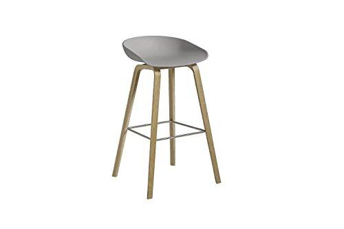 HAY - About A Stool AAS 32 - betongrau - Eiche geseift - Fußbank Edelstahl - Sitzhöhe 75 cm - HEE Welling - Design - Barhocker - Hocker