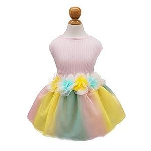 Fitwarm Flower Dog Tutu Dress Puppy Dress Birthday Party Tulle Doggie Pet Cat Apparel XS