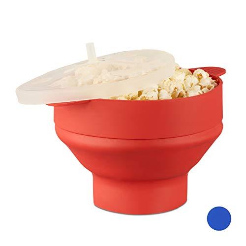 1 x Popcorn Maker Silikon für Mikrowelle, zusammenfaltbarer Popcorn Popper, Zubereitung ohne Öl, BPA-frei, rot