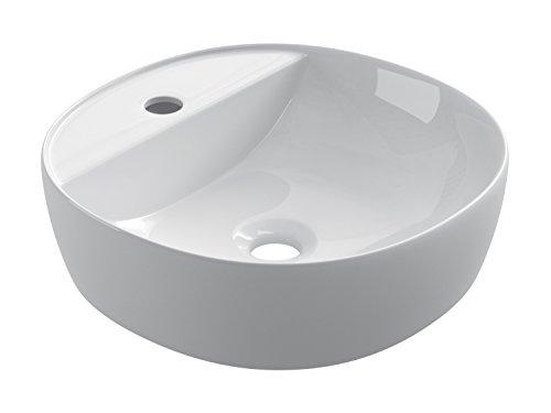 STARBATH PLUS Keramik Aufsatzwaschbecken Rund Mit Hahnloch Waschschale Handwaschbecken SFINOC (40 x 40 x 12 cm)