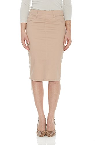 ESTEEZ Jean Skirt for Women Knee Length Brooklyn Nude 4