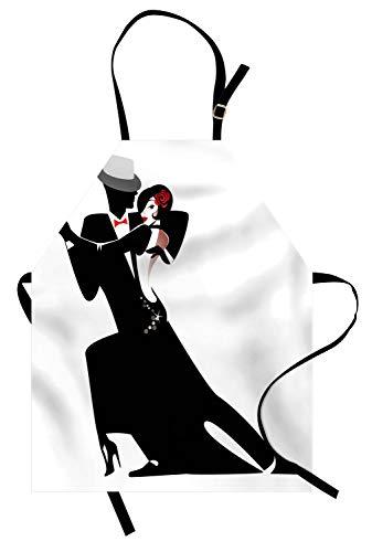 ABAKUHAUS Chicas Delantal de Cocina, Hombre y Mujer Pareja Baile Romántico Tango Vals Amantes Ritmo Música Arte Estampa, Estampados con Tecnología Digital A Prueba de Agua y Suciedad, Blanco