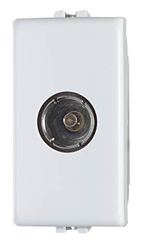 Elettronica Cusano 02475-F2/Matix - Presa TV Femmina Passante, Presa Antenna TV Compatibile Matix, Bianco, 1 M, Presa TV Passante, Made in Italy