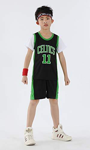Jungen/Mädchen Kinder Kinder Trikots Set - Celtic # 11 Irving Basketball-Hemd-Weste-T-Shirt Top Sommer Shorts, Short Sleeve,Schwarz,S