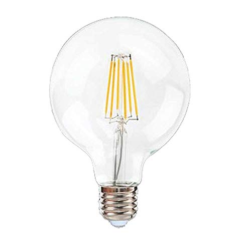 Lampadina LED E27 12W = 150 Watt Filamento Vetro Trasparente Bulbo Globo G125 Bianco Luce Naturale 4000°K 1500 Lumen 175x125 mm