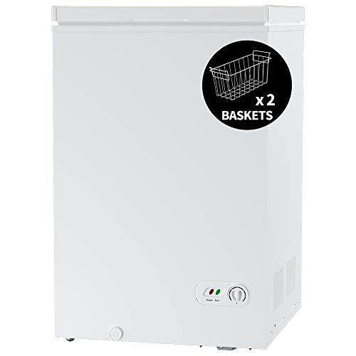 ADT Chest Freezer Free-Standing Top Door Freezers 6.8℉ to -4℉ (White, 3.5 Cubic Feet)