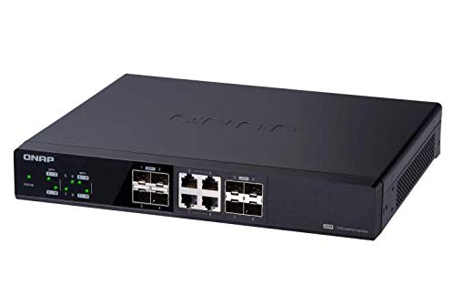 QNAP QSW-804-4C-US 8-Port Unmanaged 10GbE Switch, Eight 10GbE SFP+ Ports with Shared Four 10GBASE-T Ports 5 With NBASE-T support, existing cables can be used. Backwards compatibility is provided for Legacy devices. With a combination of SFP+ (fiber) and RJ45 (copper) ports, most devices can take advantage of 10GbE connectivity provided by the QSW-804-4C. Ieee 802. 3az (EEE) helps to reduce power consumption for low-speed and inactive connections.