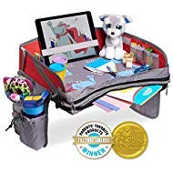 Hippococo Kids Travel Tray: Premium Portable Activity Organizer, Non-Flimsy, Padded Base, Large Storage Pocket, Sturdy Walls, Waterproof, Tablet Holder, Universal Fit - Car Seats, Strollers & Airplane