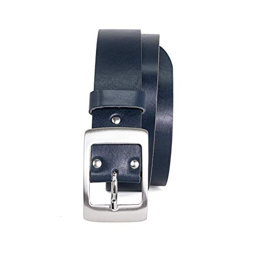 Ledergürtel Damen in schwarz, braun, blau und cognac in 4cm Breite aus einem dicken Stück Leder - Vollrindledergürtel - Damengürtel, Blau, 85 cm Bundweite = 100 cm Gesamtlänge