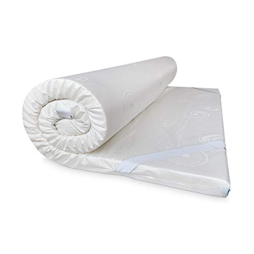 Duérmete Online Topper - Materasso viscoelastico Biofresh, 5 cm di spessore, tessuto damascato traspirante, antiacaro e antibatterico, effetto antistress, bianco, 105 x 200 cm