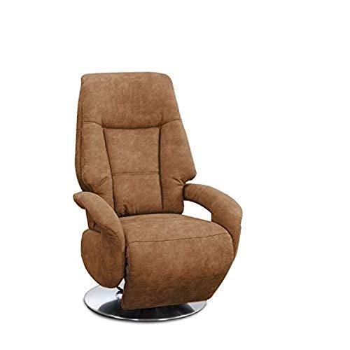 Cavadore TV-Sessel Edinburgh / Fernsehsessel mit elektrisch verstellbarer Relaxfunktion / 2 E-Motoren / 74 x 114 x 77 / Lederoptik: cognac