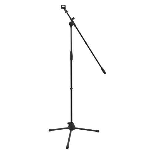 Soporte de micrófono con brazo World Rhythm WR-501 - Soporte de micrófono ajustable en altura con patas de trípode y clip de micrófono ideal para cantantes, audífonos, tambores, estudios