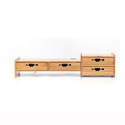 Bamboo Addensare met lade, monitorstandaard voor laptop, toetsenbord ter verhoging van de opslagruimte voor het bureau, voor gezinskantoor, 77 x 21 x 14 cm