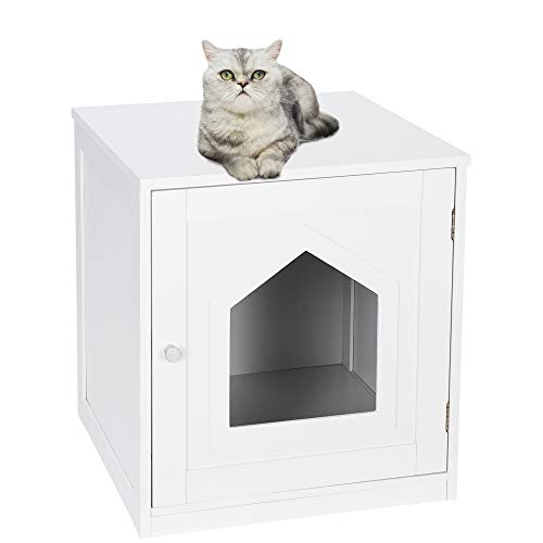 Nova Microdermabrasion Cat Litter Box Enclosure,Cat Washroom Bench Decorative Cat House & Side Table, Nightstand Table for Large Cat Kitten Kitty
