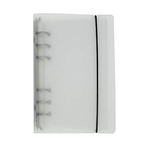 A5 A6 6穴 透明PPなシステム手帳 バインダー システム手帳 プランナー ルーズリーフ ファイロファックスノートブック オフィス学用品手帳 ボダン付き, White, A5 Mini