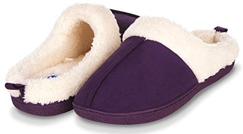 Floopi Slippers for Women Memory Foam Fur Lined Clog House Slipper W/Indoor-Outdoor Anti Skid Rubber Sole (L, Purple-301)