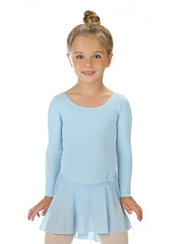 elowel   Mädchen   Sport-Ballet-Tanztrikot   Tutu   Gymnastikanzug, Leotard   Langaermelig - Mit Rock, Rüschen   Elegant & Bequem   Größe: 8-10 Jahre   Farbe: Hell-Blau
