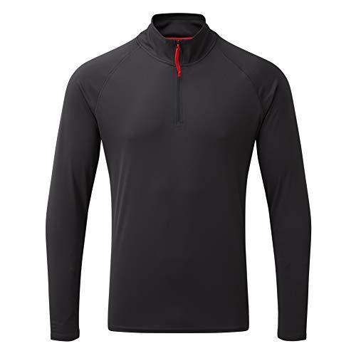 Gill T-Shirt de pêche à Manches Longues avec Fermeture éclair et col à séchage Rapide pour Homme Gris Anthracite Taille S