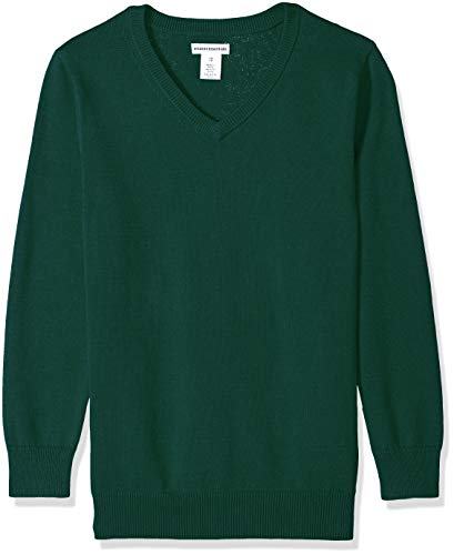 Amazon Essentials Boys Uniform V-Neck Sweater pullover-sweaters, Botanical Garden, Large