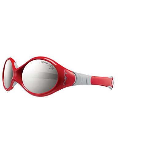 Julbo Infant Looping I Sunglasses, Spectron 4 Baby Lens, Red/Grey Frame with Cord, 0-18 Months
