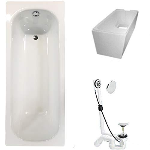 Badewanne Stahl KOMPLETT SET 170x70cm + Wannenträger + Ablaufgarnitur weiß