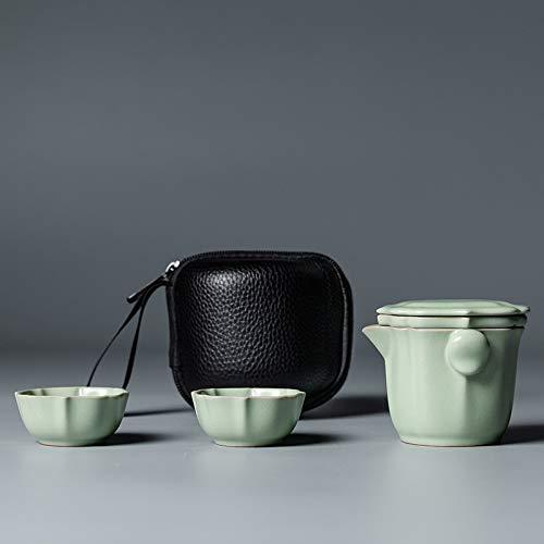 Sdvklly Tetera de cerámica Gaiwan con 2 Tazas de té de Viaje portátil con Bolsa de Viaje (Color : Light Green)