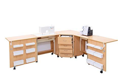 Comfort 6 | Nähmaschinenschrank | Nähmöbel| Nähtisch | (Beech Ellmau, L (Air-Lifter to 15kg))