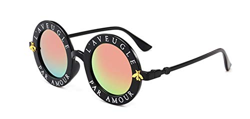 Daawqee Prämie Sonnenbrillen,Brillen,Retro Round Sunglasses Women Brand Designer English Letters Bee Circle Sun Glasses Fashion Female Shades Oculos Black Pink