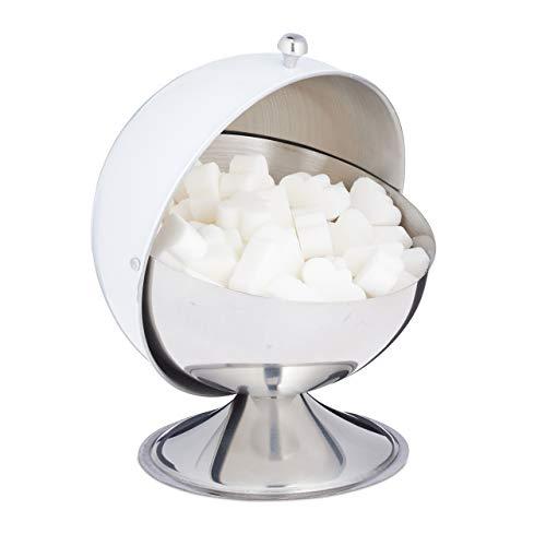 Relaxdays Zuckerdose, mit Rolldeckel, glänzender Edelstahl, für Zucker & Süßigkeiten, Bonbondose, Zuckerkugel, weiß