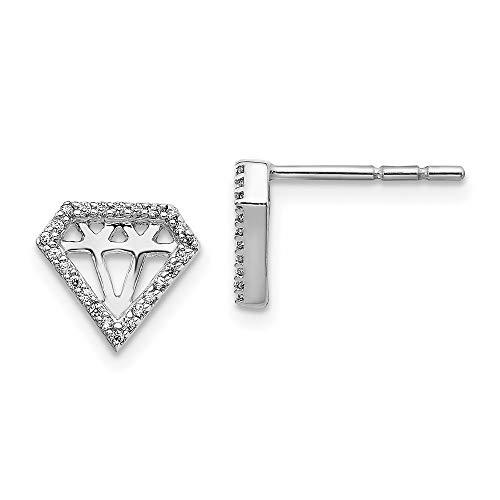Aretes de oro blanco de 14 k con forma de diamante
