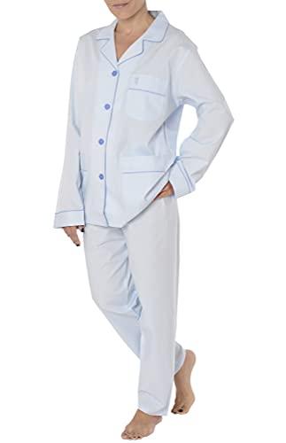 El Búho Nocturno - Pijama Mujer Largo Solapa Dobby Estampado Celeste 100% algodón Talla 1 (XS)